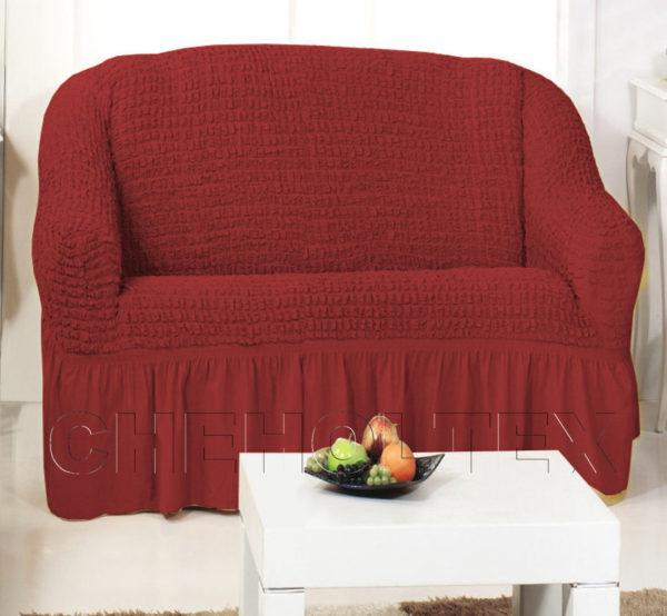 Чехол на 2-х местный диван, цвет бордовый