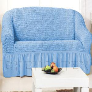 Чехол на 2-х местный диван, цвет голубой