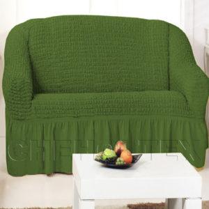 Чехол на 2-х местный диван, цвет зеленый