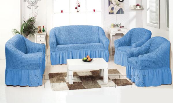 Чехол на 3-х местный диван, цвет голубой