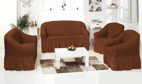 Чехол на 3-х местный диван, цвет кофе