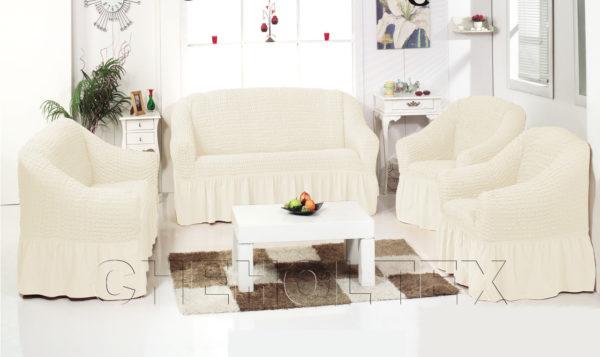 Чехол на 3-х местный диван, цвет кремовый