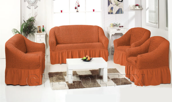 Чехол на 3-х местный диван, цвет терракот