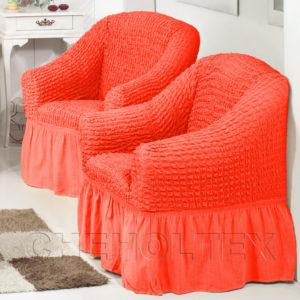 Чехол на кресло, цвет коралловый