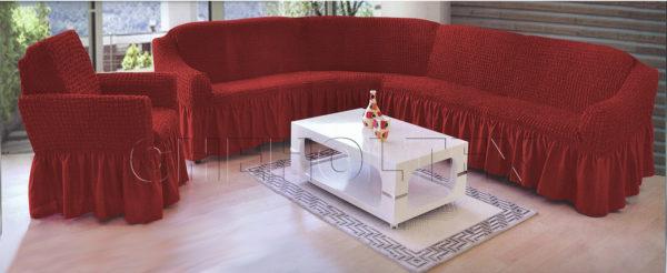 Чехол на угловой диван, цвет бордовый