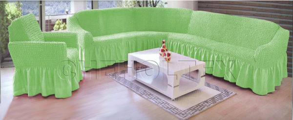 Чехол на угловой диван, цвет фисташковый