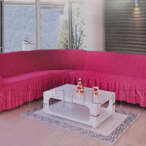 Чехол на угловой диван, цвет фуксия