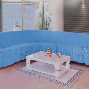 Чехол на угловой диван, цвет голубой