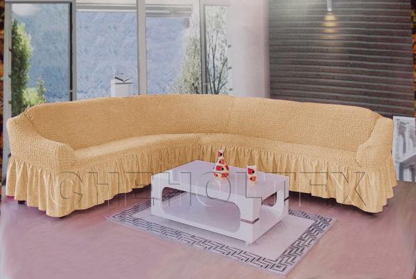 Чехол на угловой диван, цвет какао