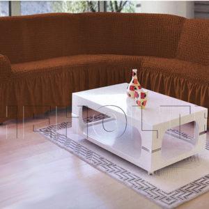 Чехол на угловой диван, цвет кофе