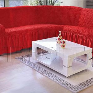 Чехол на угловой диван, цвет красный