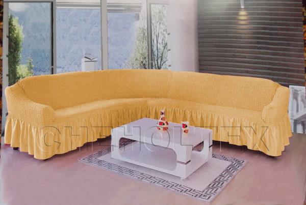 Чехол на угловой диван, цвет медовый