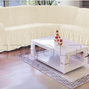 Чехол на угловой диван, цвет слоновая кость