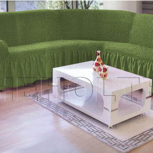 Чехол на угловой диван, цвет зеленый