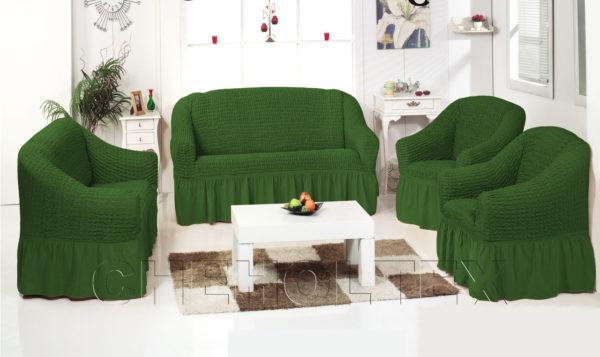 Комплект чехлов однотонных, цвет зеленый